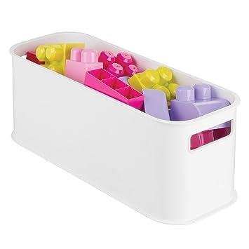 mDesign Cajas organizadoras para productos de belleza - Cajas plásticas para guardar productos de cosmética - Organizadores plásticos apilables y con asa ...