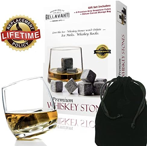 Bellavanti Whiskey Stones Gift Set For Reusable Iceless Chill For A Drink without Diluting or Watering Down – 9 Scotch Chilling Rocks – 100 Pure Soapstone Whisky Bourbon Sipping Cubes