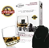 Bellavanti Whiskey Stones Gift Set For Reusable Iceless Chill For A Drink without Diluting or Watering Down - 9 Scotch Chilling Rocks - 100% Pure Soapstone Whisky & Bourbon Sipping Cubes