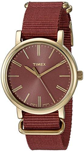 Timex Women's TW2P78200 Originals Tonal Marsala Nylon Slip-Thru Strap Watch