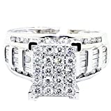 Midwest Jewellery 1cttw Diamond Wedding Ring 3 in 1 Style Engagement & Bands White or Yellow Gold(i2-i3 Clarity)