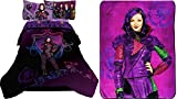 Disney Original Descendants Bedroom Collection with Reversible Comforter, Full 4-pc Sheet Set, Plush Throw