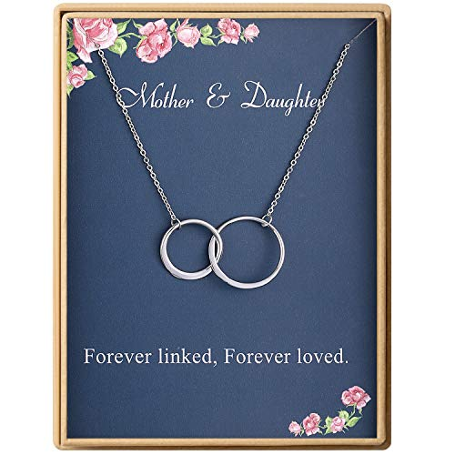 Mother Daughter Necklace Two Interlocking Infinity Double Circles Sterling Silver Necklace Birthday Gifts for Mom