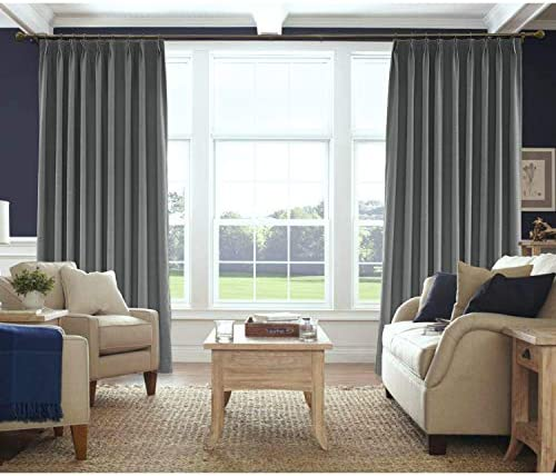 Macochico Thermal Insulated Faux Linen Room Darkening Curtains Pinch Pleated