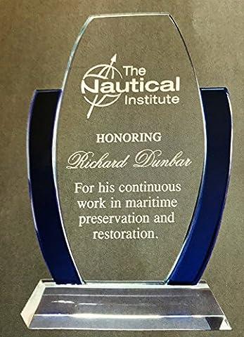 Achievement or Graduation Plaque, Glass Award, Police, Corporate, Firefighters Awards - Custom Crystal