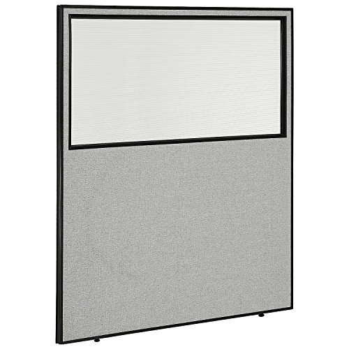 60-1/4''W x 72''H Office Partition Panel with Partial Window, Gray by Global Industrial