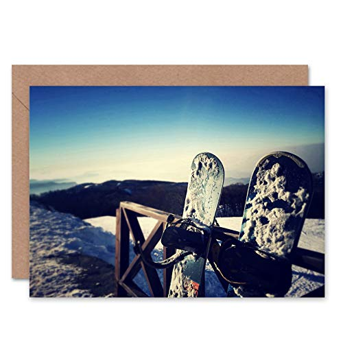 Wee Blue Coo New Photography Sport Snowboarding Snowboard Snow Cold Greetings Card CL1149 -