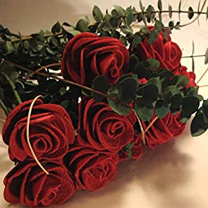 BINESHII Handcrafted Leather Roses (3, Red) 41
