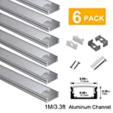 hunhun 6-Pack 3.3ft/1Meter U Shape LED Aluminum Channel System with Milky Cover, End Caps and Mounting Clips, Aluminum Profile for LED Strip Light Installations, Very Easy Installation