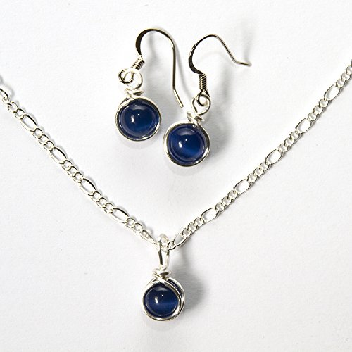 Womens Jewelry Set - Navy Blue Earrings and Necklace Set - 2