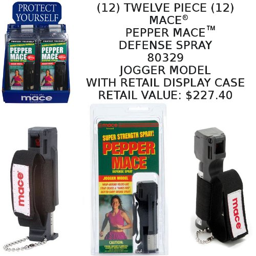 12 ~ MACE® Brand Pepper Mace Spray 80329 JOGGER MODEL 18 gram Key Chain Canisters with Hand-Grip 12-Count Counter Display / Family Pack Lot (PLEASE SEE SHIPPING RESTRICTIONS BEFORE ORDERING)