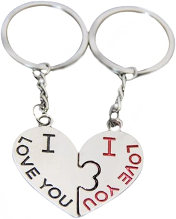 Yamalans 1 Pair I Love You Kiss Key Ring Keychain Heart Keyfob Lover Couple  Gift Keyring 5762437050