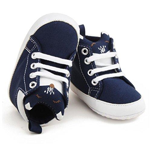 Igemy 1Paar Kleinkind Mädchen Jungen Lace-up Krippe Schuhe Prewalker Soft Sohle Sneakers Blau