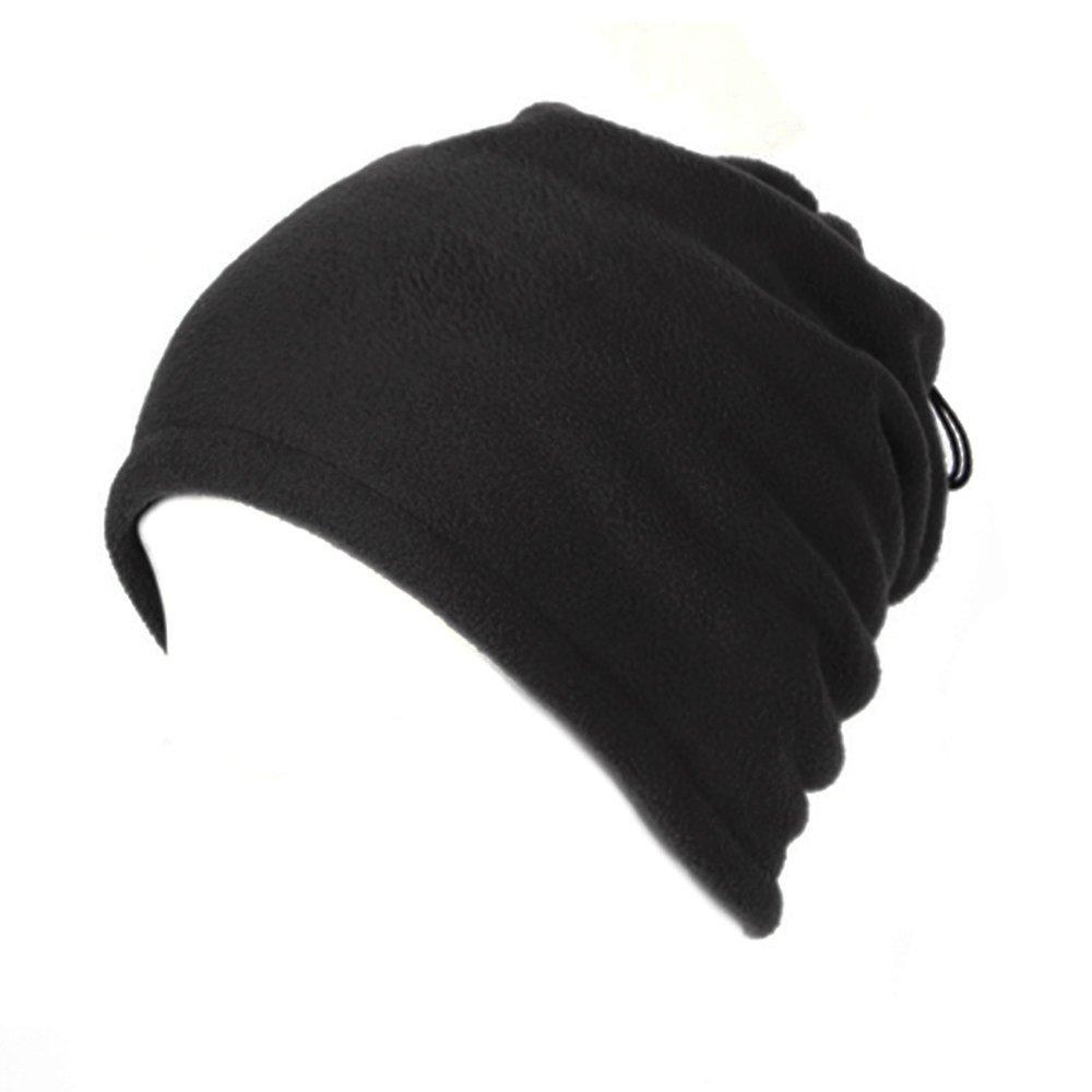 Opromo Fleece Snood Scarf Neck Warmer Beanie Hat Ski Balaclava Thermal Ski Wear-Black Double Layer-12piece