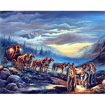 Amazon Com Cowboys Horses Cattle Western Landscape Animal