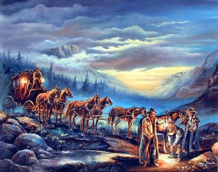 Western Cowboys Stagecoach With Horses  Bedroom Wall Decor