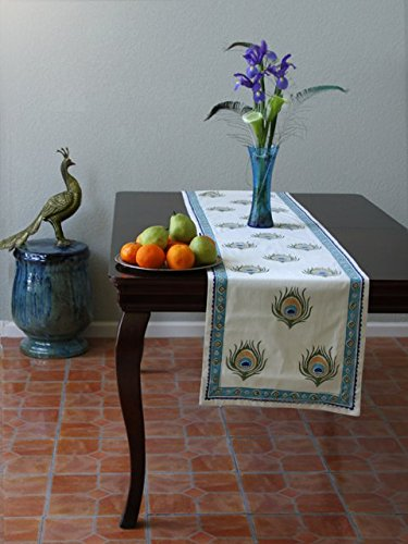 Dance O Peacock ~ Ivory Peacock Feather Elegant Table Runner 18x120 by Saffron Marigold