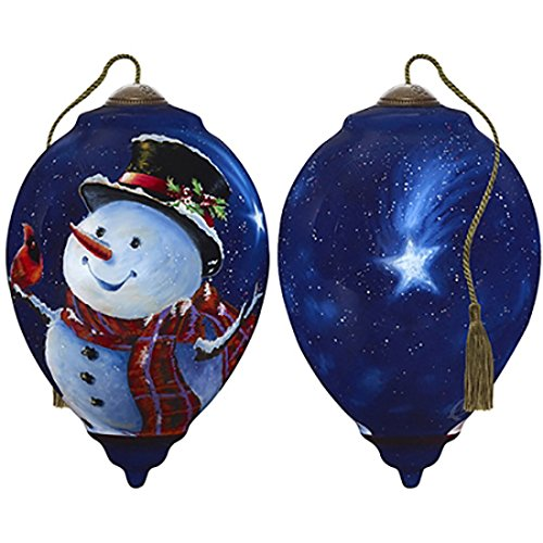 - Ne'Qwa Art Hand Painted Blown Glass Magic of Christmas Snowman Ornament,