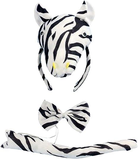Amosfun 3 Piezas de Disfraz de Animal para niños de Cebra, Diadema ...