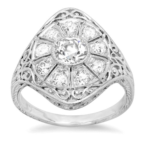 (Platinum Diamond Halo Edwardian Filigree Ring (0.90 cttw))