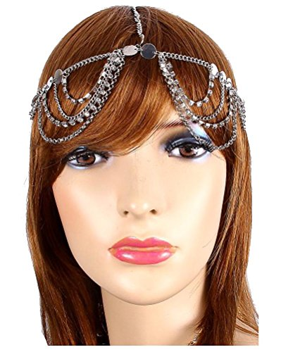 Price comparison product image V G S Eternity Fashions Silvertone Crystal Bead Draped Head Chain Hair Band (IHC1029-SIL Ur)