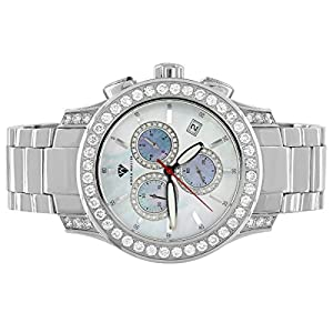 Stainless Steel Aqua master Watch 15.5CT Real Diamond Silver Finish Watch Analog Display Brand New