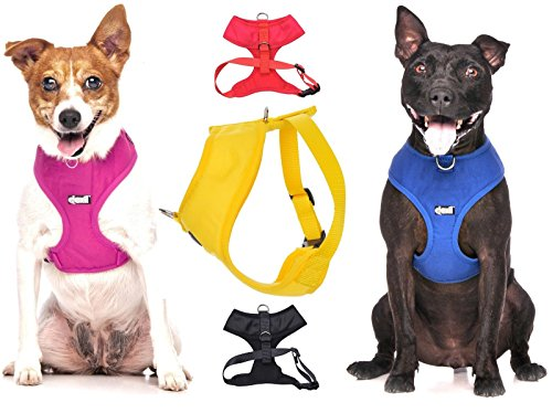 Dexil Elite Range Luxury Padded Waterproof Adjustable Back and Front Ring Non-Pull Medium Pet Dog Vest Harness (Sunburst Yellow, Medium 19-28inch Chest)