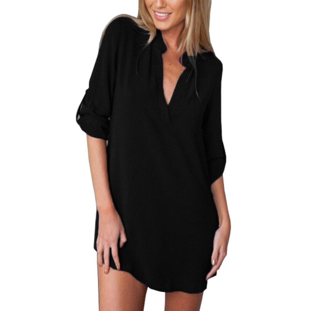 648d385161387 Bling Stars Chiffon Blouse Women Deep V Neck Long Sleeve Loose Chiffon T Shirt  Dress at Amazon Women s Clothing store