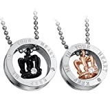 Best Necklace Two Pieces - Cupimatch 2-Piece Stainless Steel CZ Queen King Crown Review