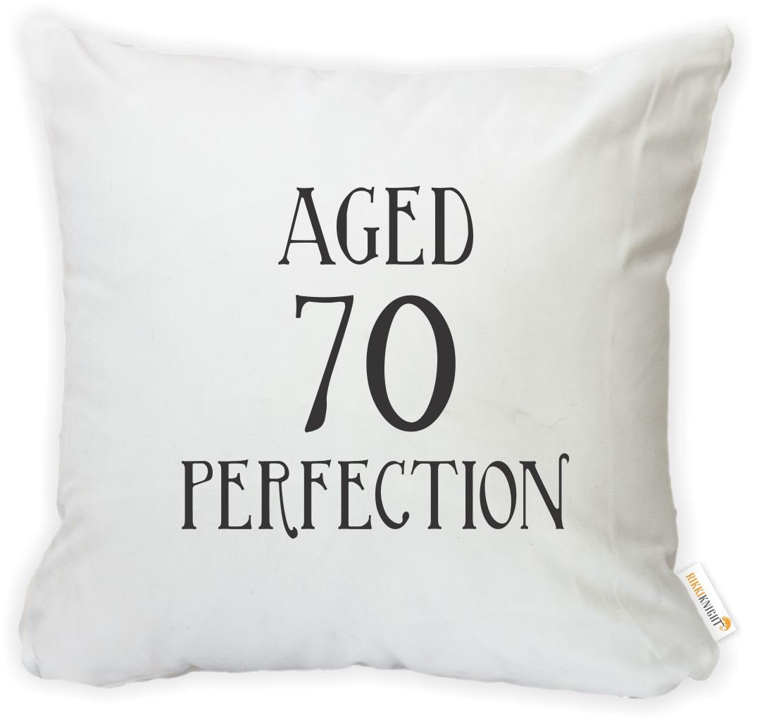 Rikki Knight 16 x 16 inch Aged 70 Perfection Birthday Microfiber Throw Pillow Cushion Square with Hidden Zipper (Insert Included) -Printed in The USA