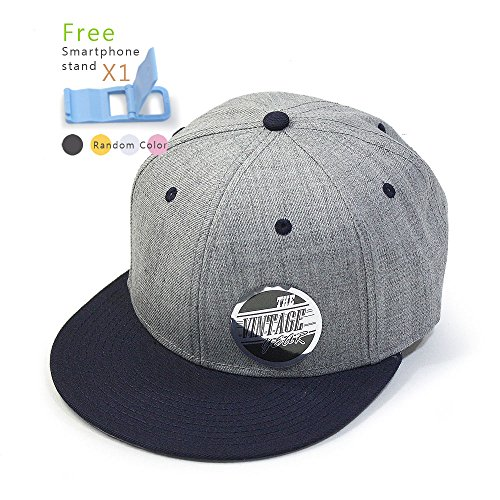 (Premium Heather Wool Blend Flat Bill Adjustable Snapback Hats Baseball Caps (Various Colors) (Navy/Heather Gray))