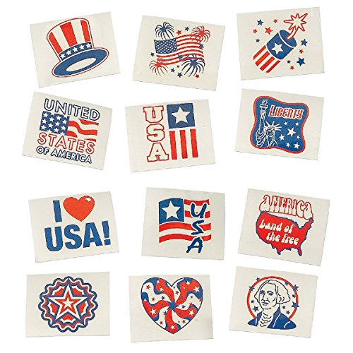 Patriotic USA Glow-in-the-Dark Temporary Tattoos (36-Pack)