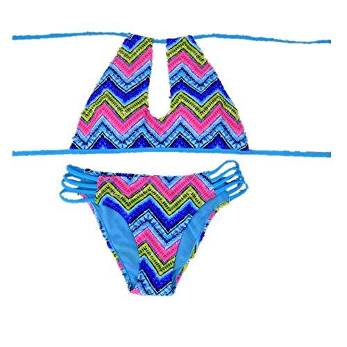 SZH YIBI Sra. Del bikini traje de baño de cuerpo medio ambiente de secado rápido se reunieron en Europa y los Estados Unidos apretada elasticidad blue green