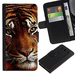 Planetar® Modelo colorido cuero carpeta tirón caso cubierta piel Holster Funda protección Para Samsung Galaxy S3 III i9300 i747 ( Tigre soñoliento Big Orange Cat Hocico Animal )