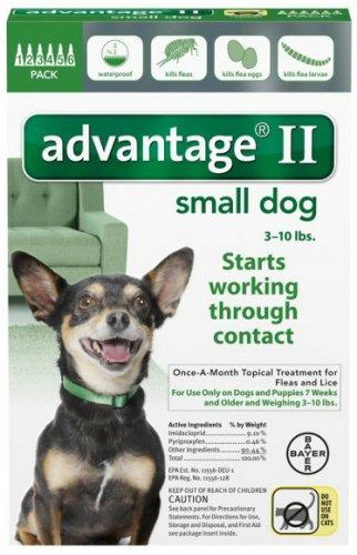 ADVANTAGE II Dog Flea Control 0-10 lbs Green 6 Month