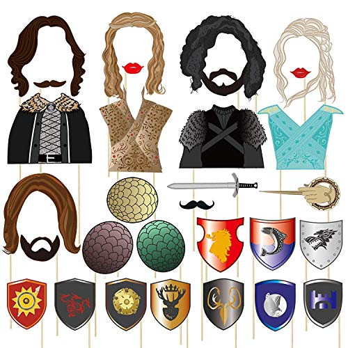 BBGparty 22/31 Pieces Game of Thrones Photo Booth Props for Party Celebration(31 Pieces)