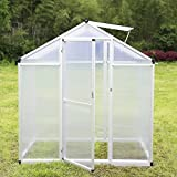Sliverylake Outdoor Garden Heavy Duty Polycarbonate Walk-in Greenhouse (6'x4')