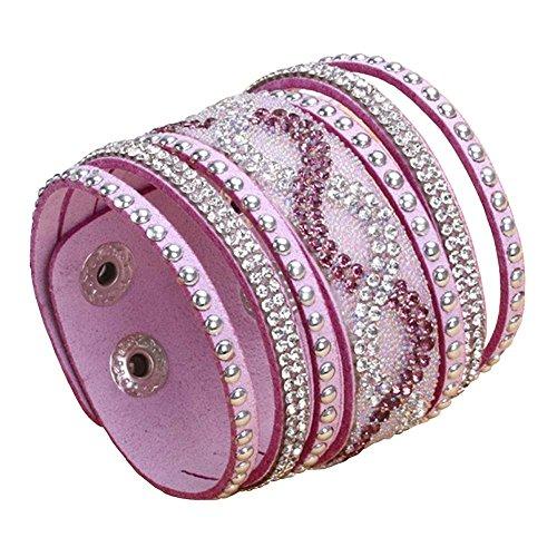 Crystal Pave Link Bracelet - Physn Crystal Leather Bracelets & Bangles Personality Printed Pave Setting Rhinestone Charm Bracelet (Purple)