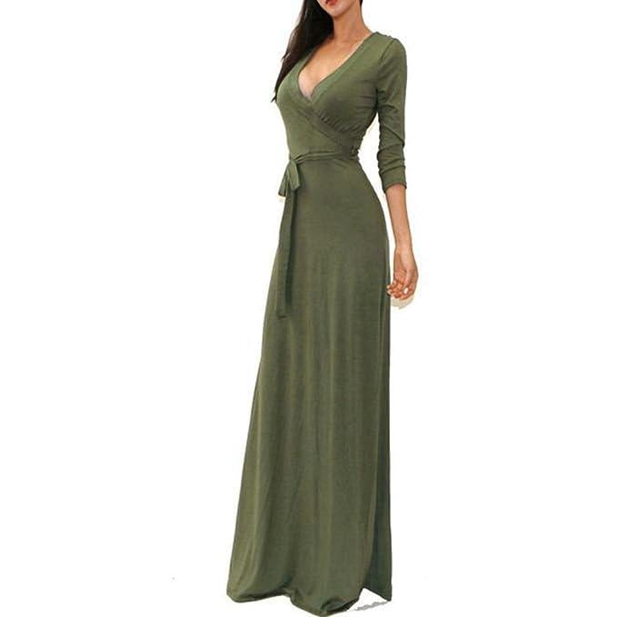 31296776a3 Sunsee Women s Solid V-Neck 3 4 Sleeve Wrap Waist Long Maxi Dress ...