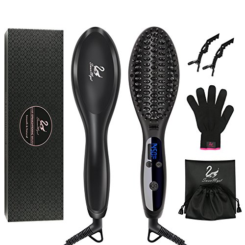 Hair Straightening Brush, SwanMyst Ceramic Ionic Hair Straightener Brush Iron with Heat Resistant Glove and Auto Temperature Lock, Dual Voltage, Matt Black