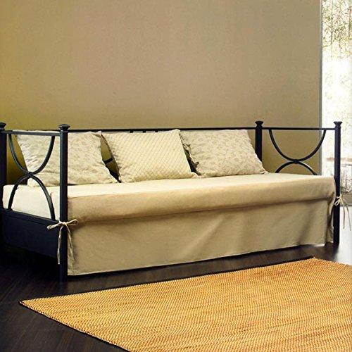 Bett ausziehbar aus Schmiedeeisen mit Lattenrost Orthopädischer und Volant Textil