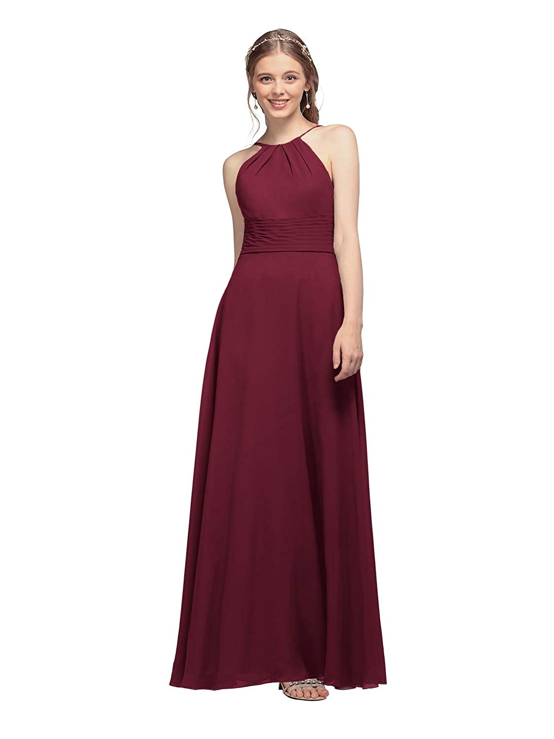 AW BRIDAL Chiffon Halter Long Bridesmaid Dresses Plus Size Formal Dreses for Women Maxi Evening Gown