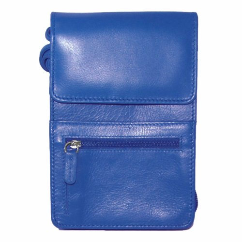 Leather Organizer on a String Cross Body,One Size,Cobalt