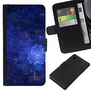 """[Neutron-Star] Modelo colorido cuero de la carpeta del tirón del caso cubierta piel Holster Funda protecció Para Sony Xperia Z1 L39 [Universo de la galaxia Estrellas Art Blue Cosmos Explosión""""]"""