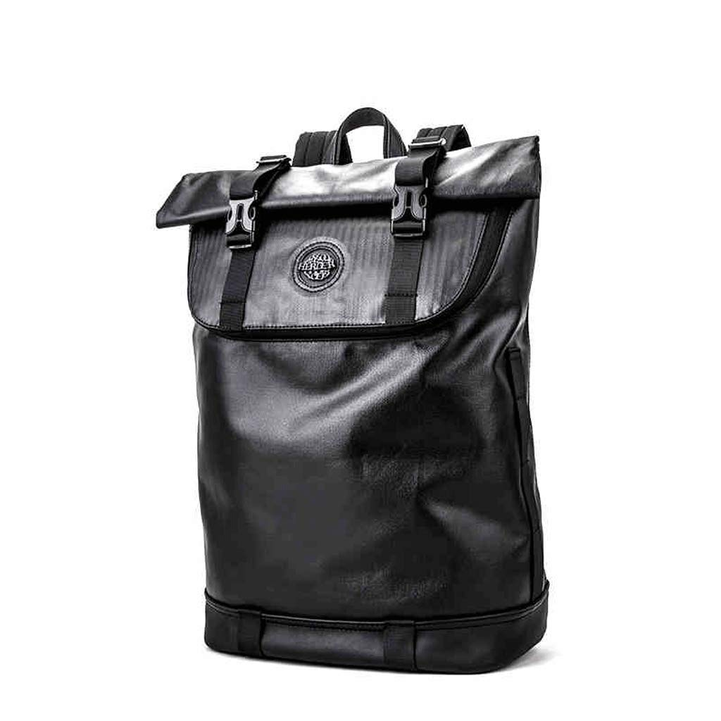 SLH バックパック男性キャンパスキャンバスレジャーバッグ軽量大容量バックパック (Color : Black, Size : 48 * 16 * 29cm) 48*16*29cm Black B07JGM13W1