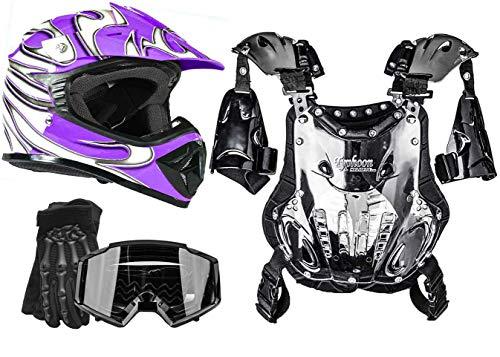 Typhoon Youth Girl's Motocross Helmet Gloves Goggles Chest Protector Combo ATV Dirt Bike MX - Black Purple (Medium)