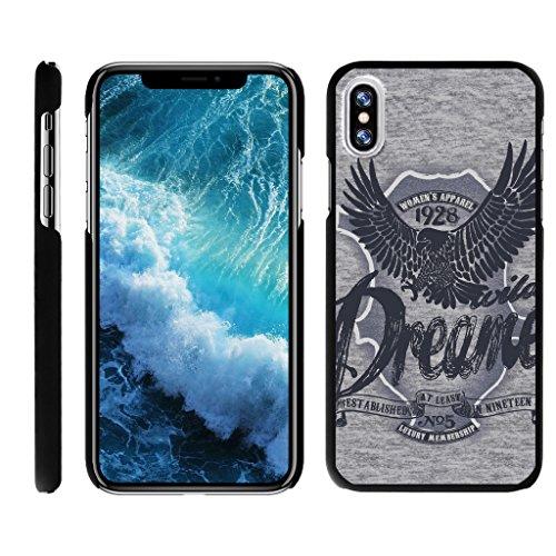 TurtleArmor | Compatible for Apple iPhone X Case | Apple iPhone 10 Case [Slim Duo] Slim Clip On Hard Cover Protector Matte Unique Designs on Black - Wild Eagle (Protector Dreamer Design)