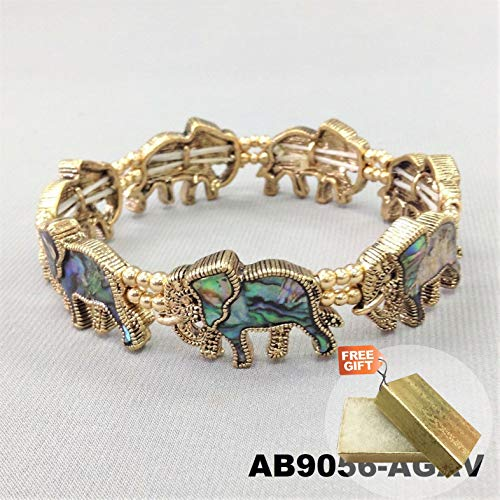 (Bohemian Style Gold Finish Abalone Shell Elephant Animal Stretch Fashion Jewelry Bracelet For Women + Gold Cotton Filled Gift Box for)