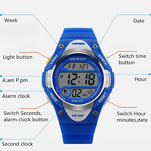 MY Household Sports Digital Kids Watch Outdoor for Child Waterproof Wrist LED Digital Alarm – Fitness Tracker Activity…