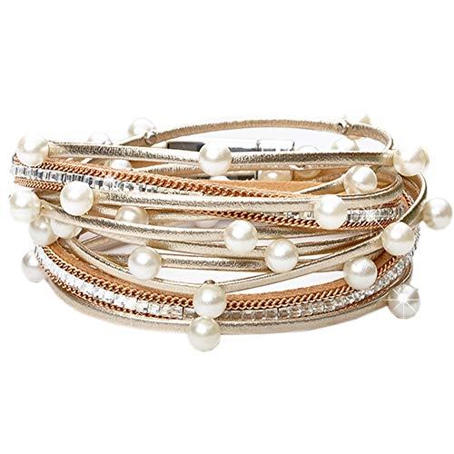 - Leather Boho Wrap Ermish Stackable Bracelets,Cuff Wrap Boho Braided Womens Multilayer Wide Wristbands Wrist Magnetic Clasp Buckle Casual Bangle Bracelets for Teen Girls,Women,Boy Gift(T-B B)